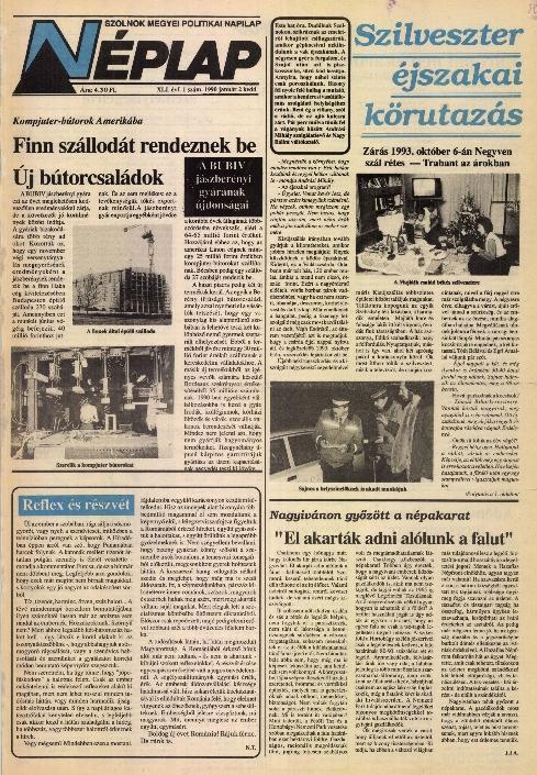Néplap címlapja 1990