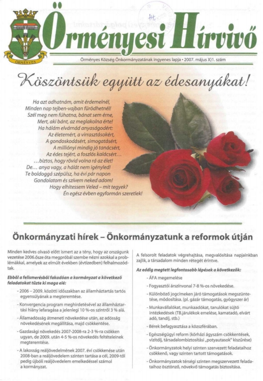 Örményesi újság címlapja