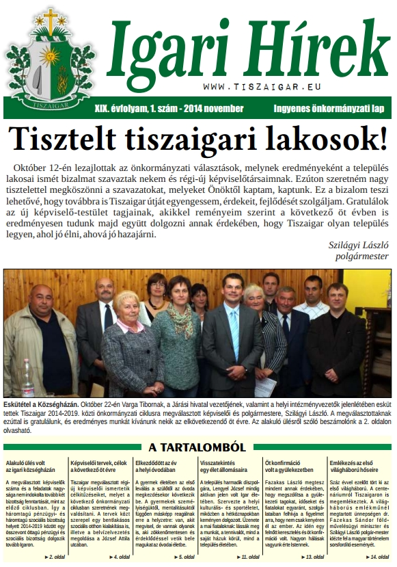 Igari Hírek címlapja
