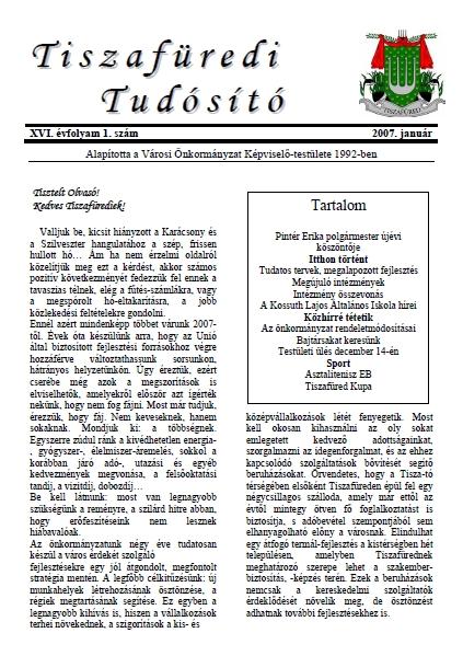Tiszafüredi tudósító címlapja