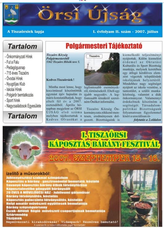 Örsi Újság címlapja