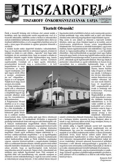 Tiszaroffi Híradó címlapja