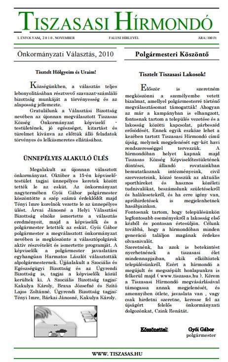 Tiszasasi Hírmondó címlapja
