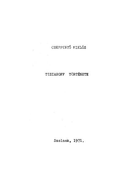 Tiszaroff története címlapja