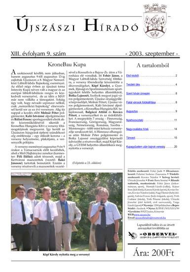 Újszászi híradó címlapja